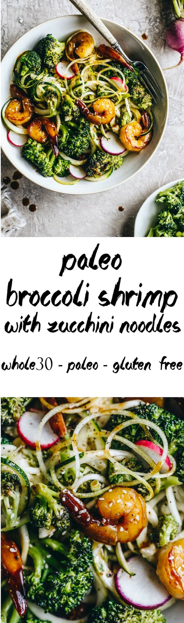 Paleo Broccoli Shrimp marinated with coconut aminos and served atop zucchini noodles #whole30