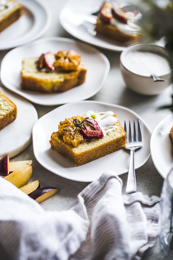 Pound Cake with Caramelized Fruit and Coconut Whipped Cream | thealmondeater.com