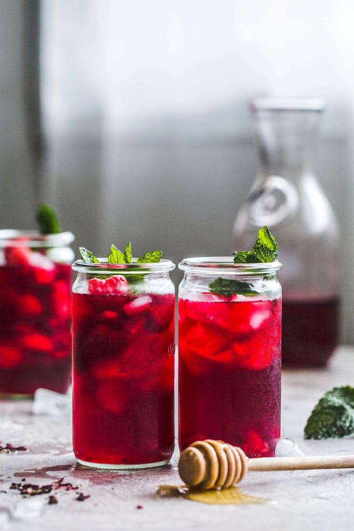 Raspberry Hibiscus Iced Tea Recipe | The Almond Eater