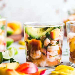 Stone Fruit Ceviche featuring shrimp, peaches and plums   thealmondeater.com