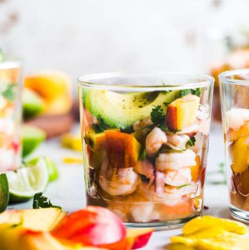 Stone Fruit Ceviche featuring shrimp, peaches and plums | thealmondeater.com