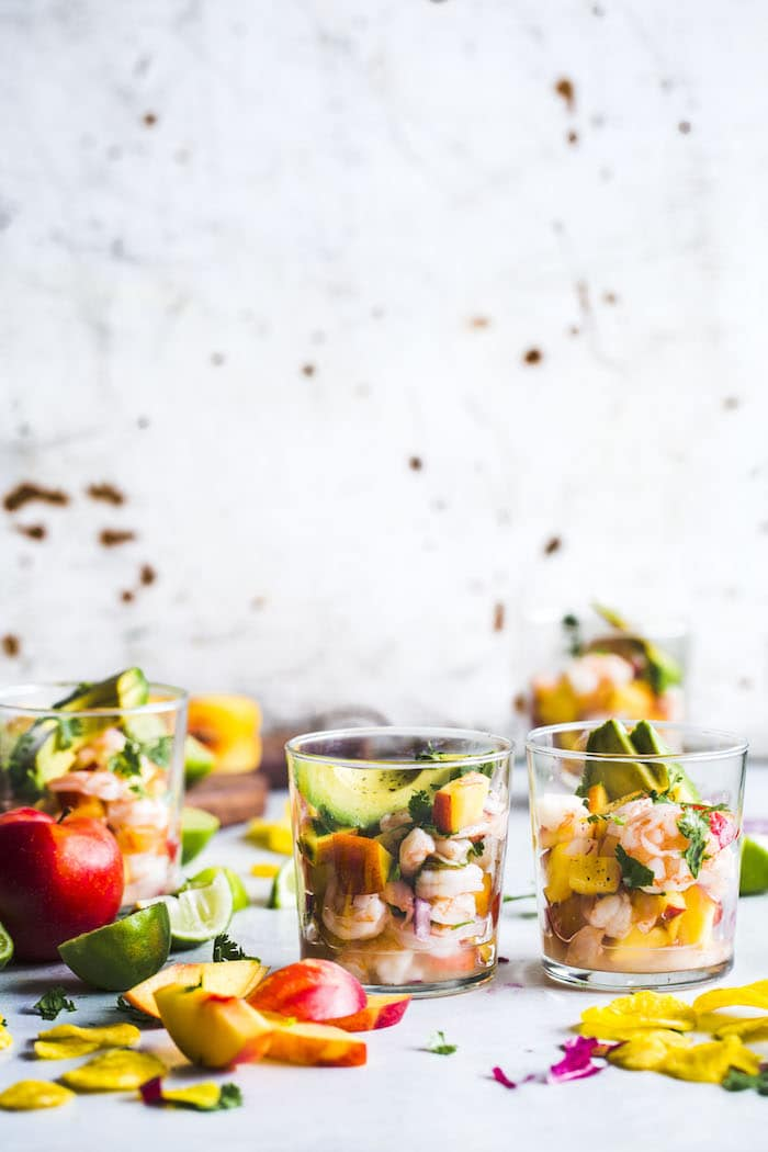 Stone Fruit Ceviche featuring shrimp, peaches and plums!