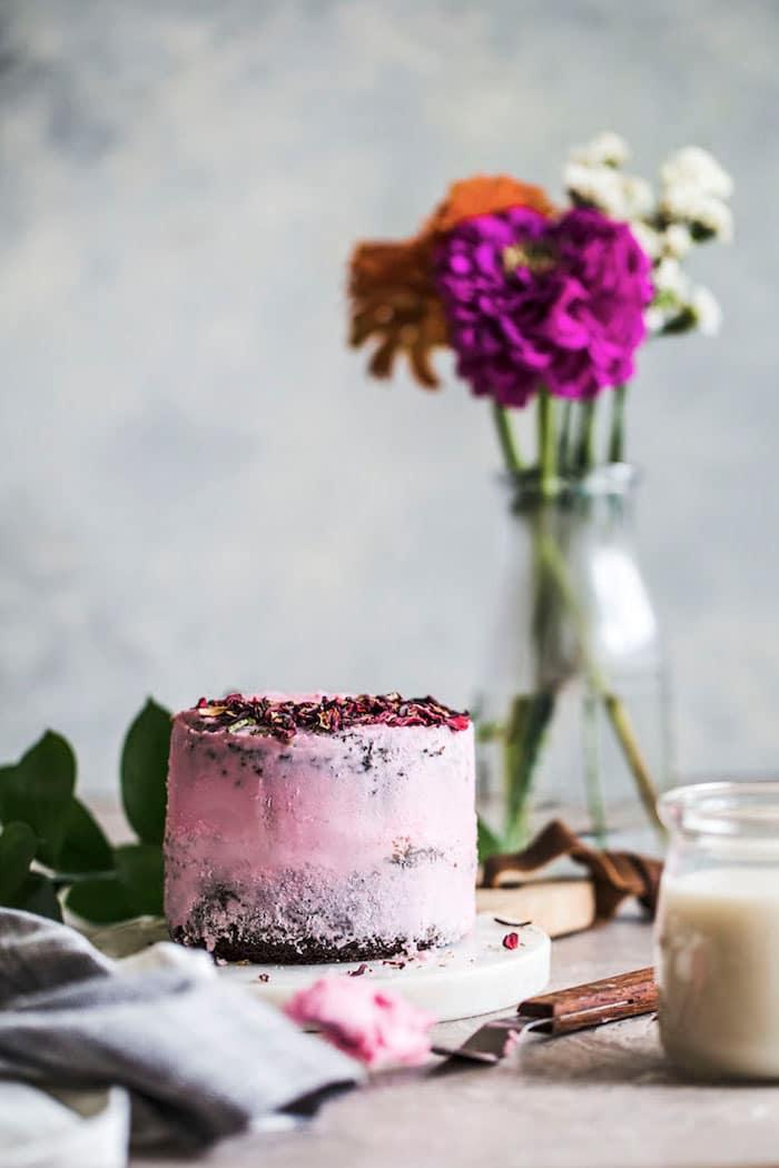 Mini Vegan Chocolate Hibiscus Cake | thealmondeater.com