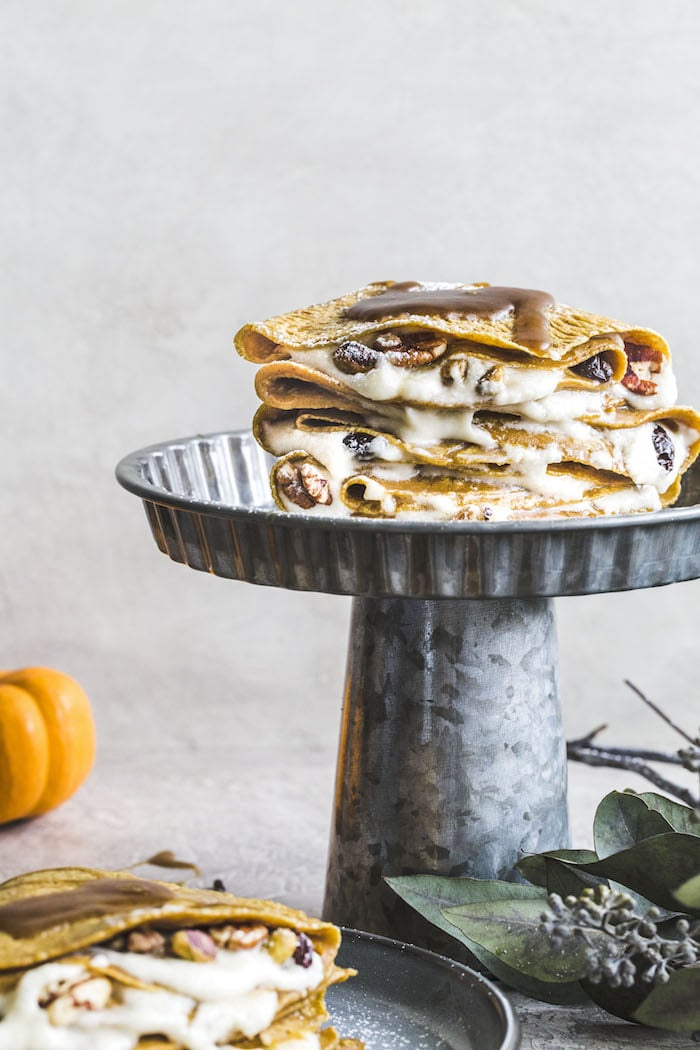 Pumpkin Crepes with Whipped Mascarpone | thealmondeater.com