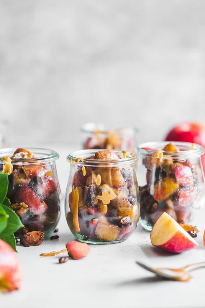 Whole30 Apple Parfait with cinnamon, nuts and nut butter | thealmondeater.com