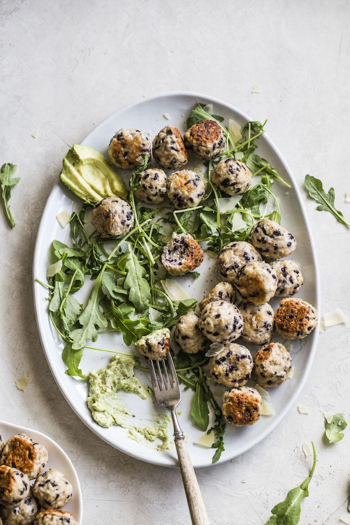 Black Rice Chicken Meatballs | thealmondeater.com