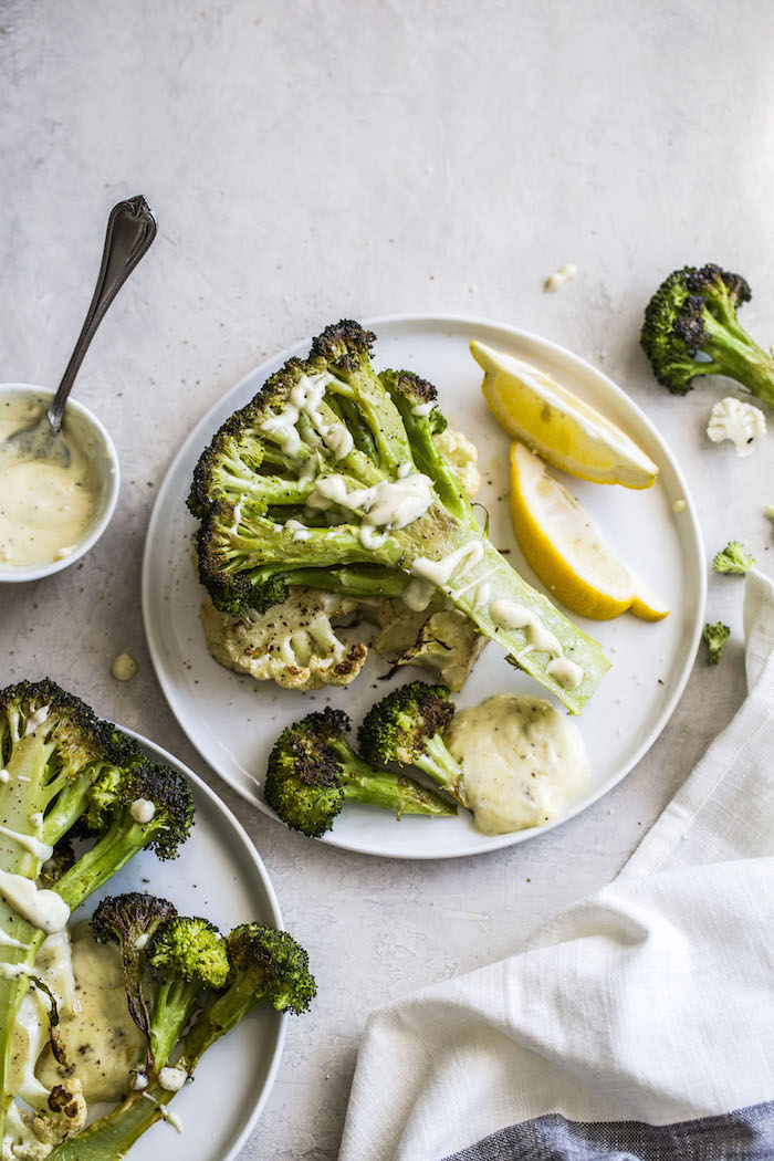 Garlic Broccoli Steaks with garlic aioli | thealmondeater.com