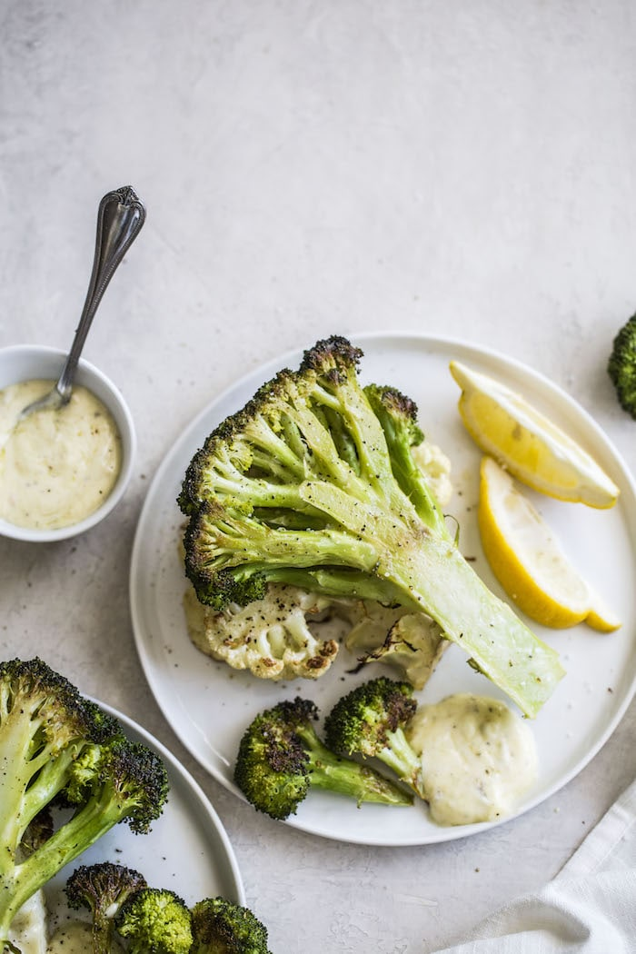 Garlic Broccoli Steaks with aioli! | thealmondeater.com