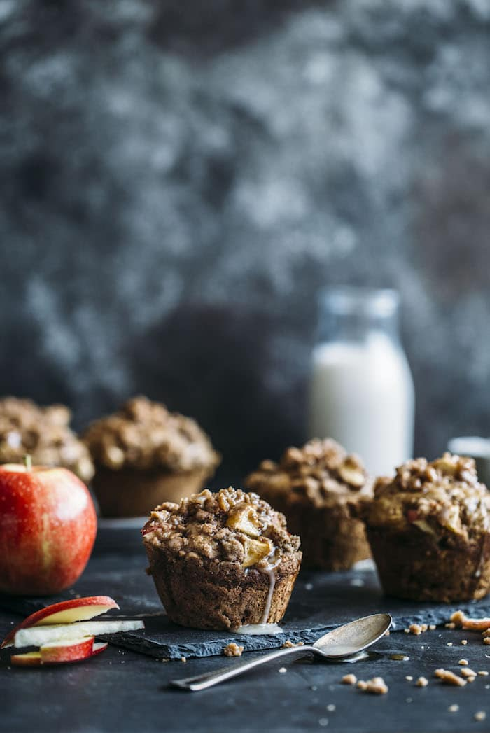 Whole Wheat Caramel Apple Muffins | thealmondeater.com