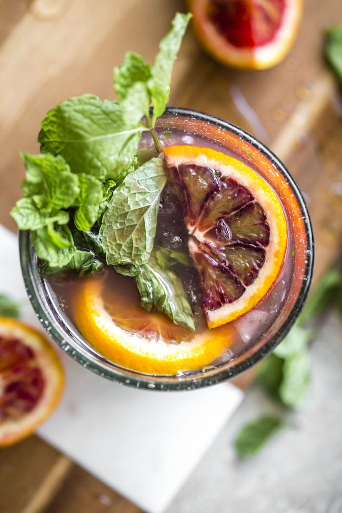 Blood Orange Champagne Mojito | thealmondeater.com