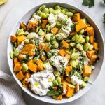 Garlic Lima Bean Salad with Sweet Potatoes   thealmondeater.com
