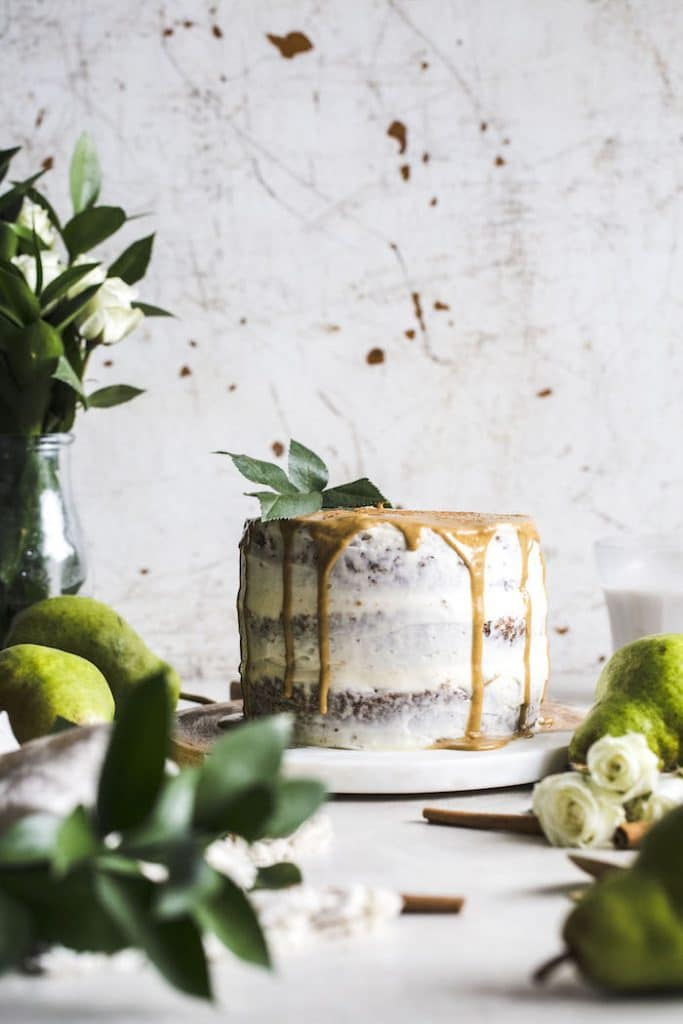 Spelt Flour Gingerbread Cake With Caramelized Pears The
