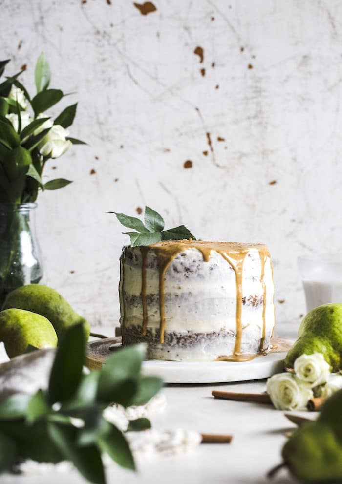 spelt flour gingerbread cake with caramelized pears and mascarpone icing | thealmondeater.com