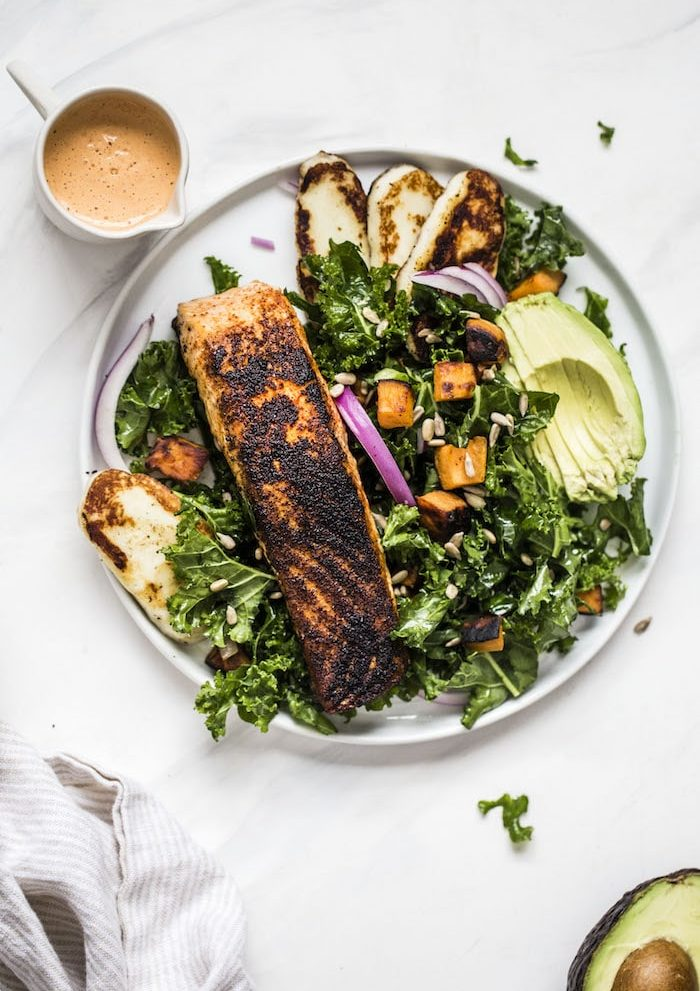 Spicy Chipotle Salmon Kale Salad | thealmondeater.com