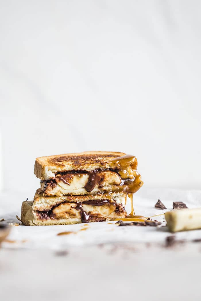 Chocolate Bananas Foster Sandwich | thealmondeater.com #vegan