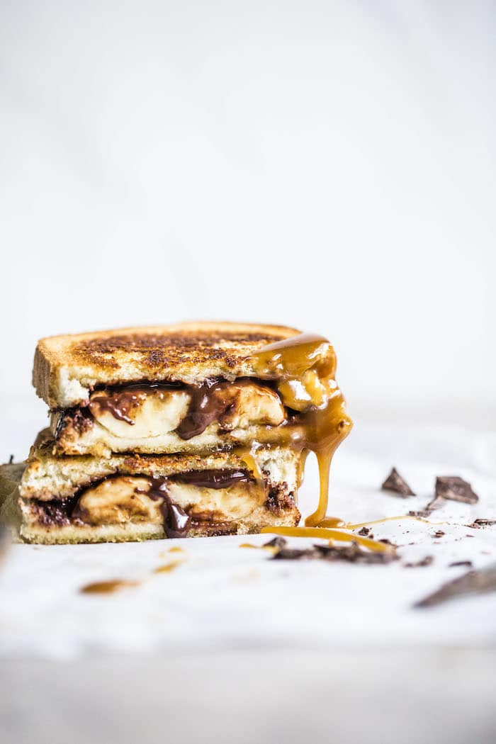 Chocolate Bananas Foster Sandwich   Made with dairy free chocolate ganache and caramel sauce, this sandwich is perfect for that late night sugar craving and comes together in about 15 minutes!   thealmondeater.com