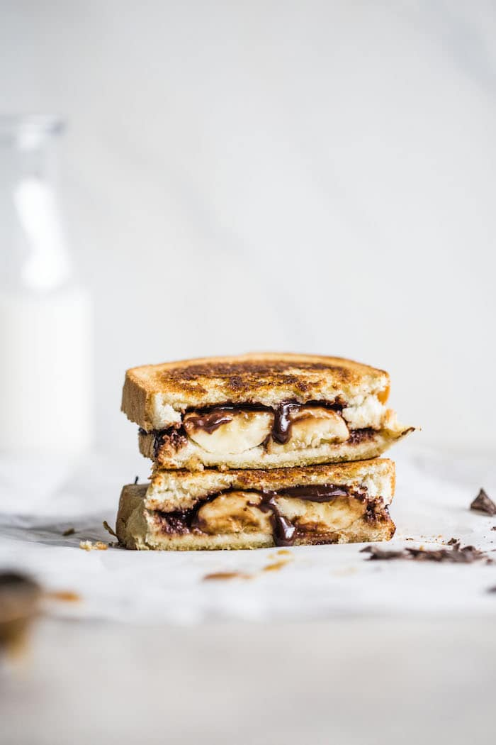 Chocolate Bananas Foster Sandwich | thealmondeater.com