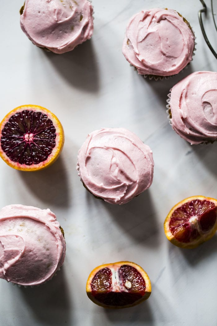 Vegan Coconut Cupcakes with Blood Orange Buttercream | thealmondeater.com