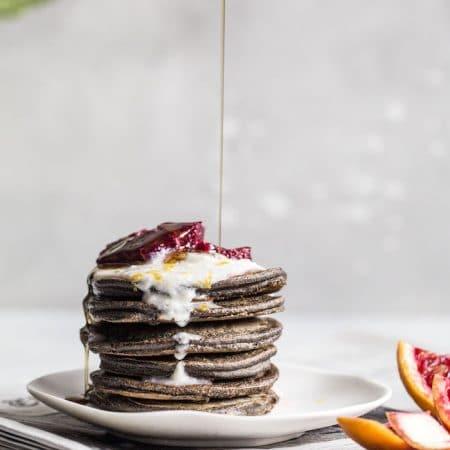 Blood Orange Buckwheat Pancakes | thealmondeater.com