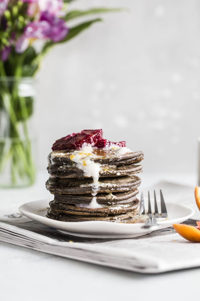 Blood Orange Buckwheat Pancakes | thealmondeater.com