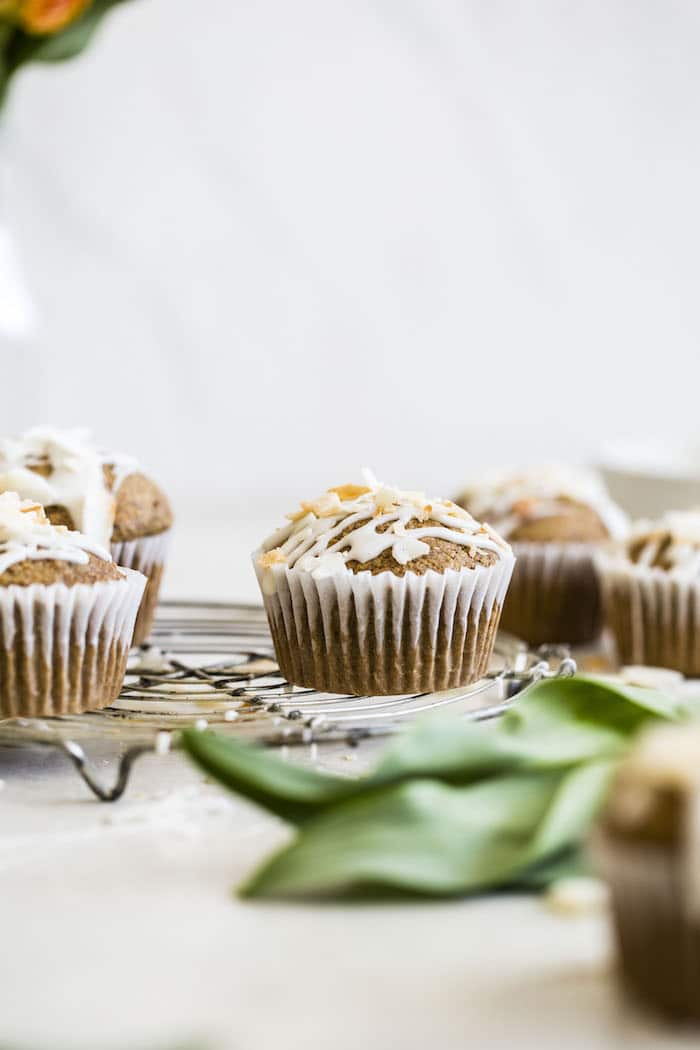 Toasted Coconut Carrot Cake Muffins | thealmondeater.com