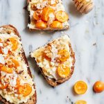 Fancy Kumquat Ricotta Toast with walnuts, coconut and honey | thealmondeater.com