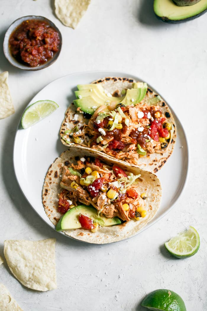 Shredded Chipotle Chicken Tacos | thealmondeater.com