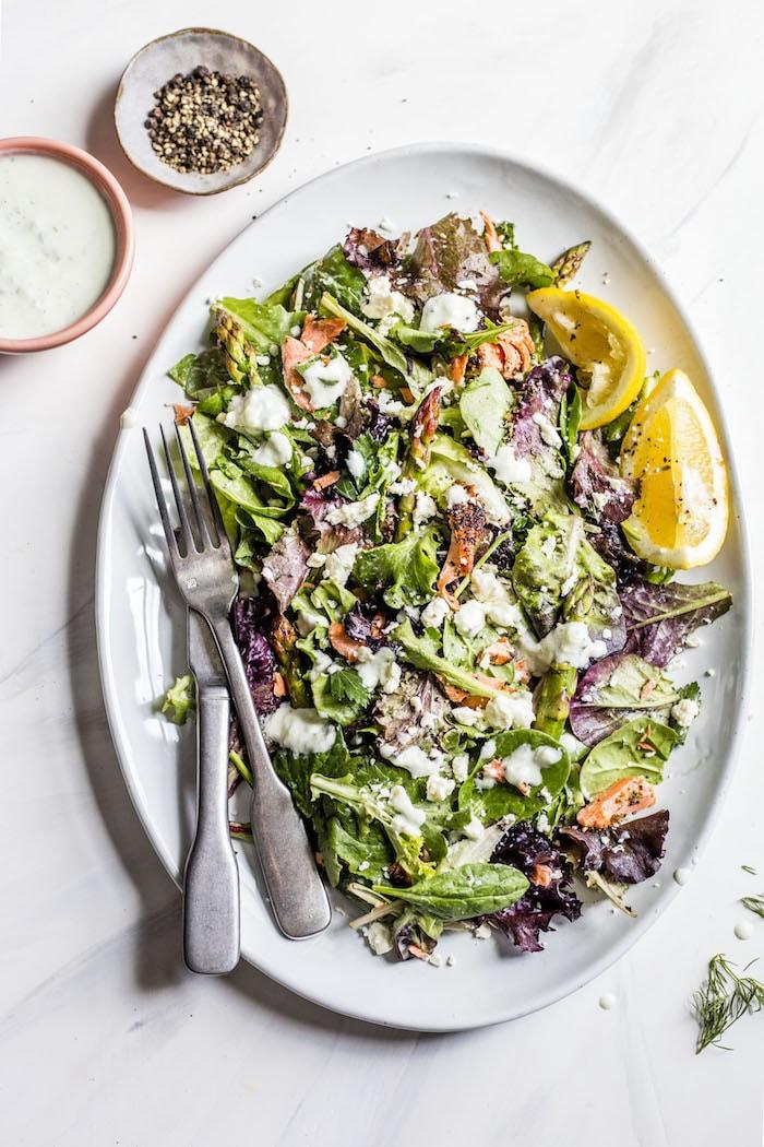 Garlic Salmon Salad with asparagus and tzatziki | thealmondeater.com