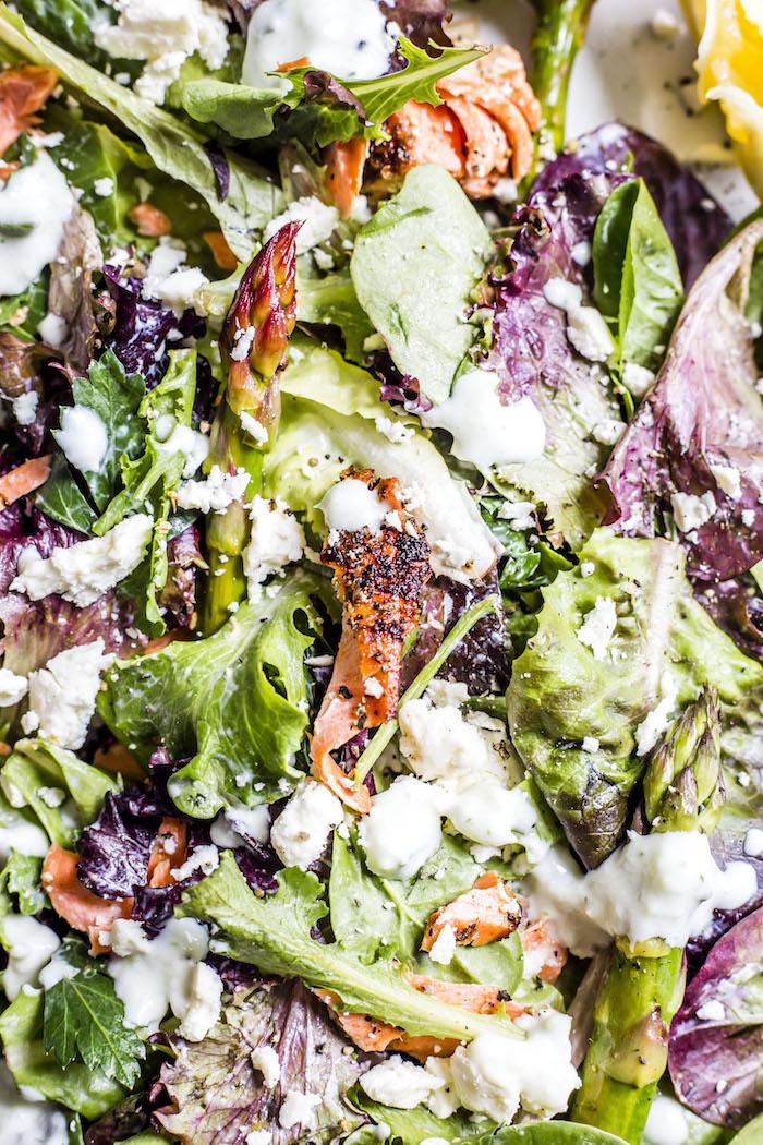Garlic Salmon Salad | thealmondeater.com