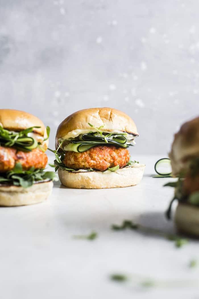 Pan-Seared Salmon Burgers with Garlic Aioli | thealmondeater.com