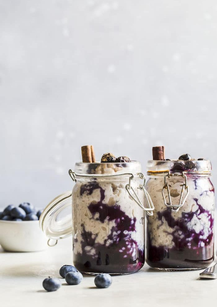 Cinnamon Blueberry Rice Pudding | thealmondeater.com