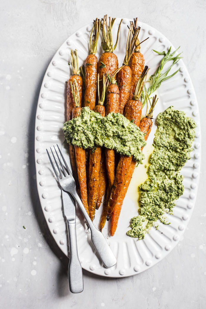Roasted Carrots with Tarragon Carrot Top Pesto | thealmondeater.com