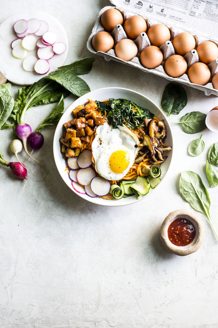 Tofu Sweet Potato Bibimbap | thealmondeater.com