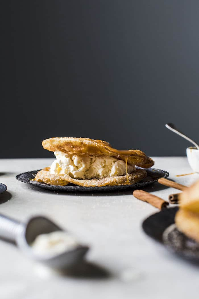 Fried Tortilla Ice Cream Sandwich | thealmondeater.com