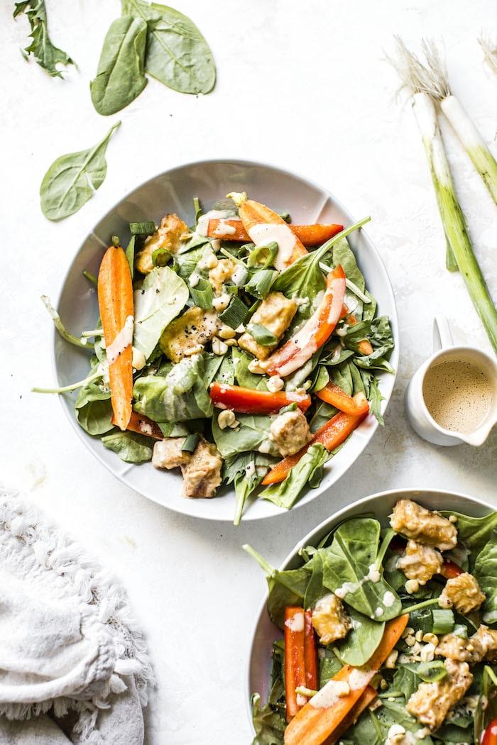 Crunchy Peanut Tofu Salad | thealmondeater.com