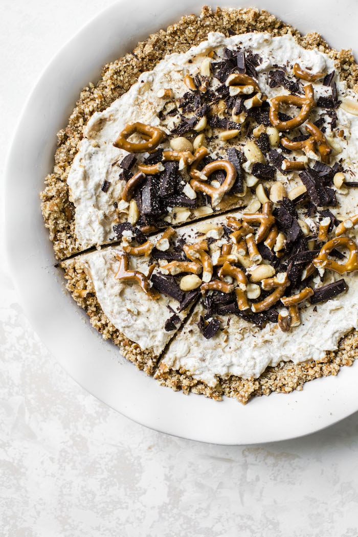 Frozen Peanut Butter Cottage Cheese Pie | thealmondeater.com