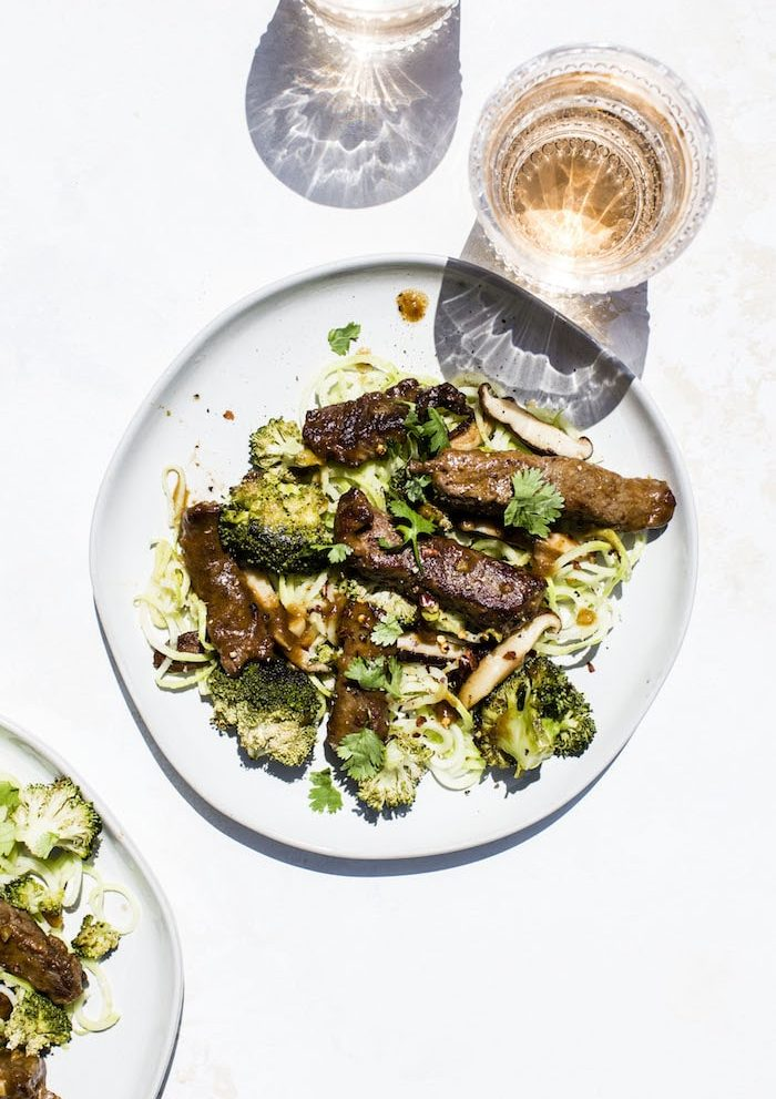 Paleo Beef Broccoli with Broccoli Stem Noodles | thealmondeater.com