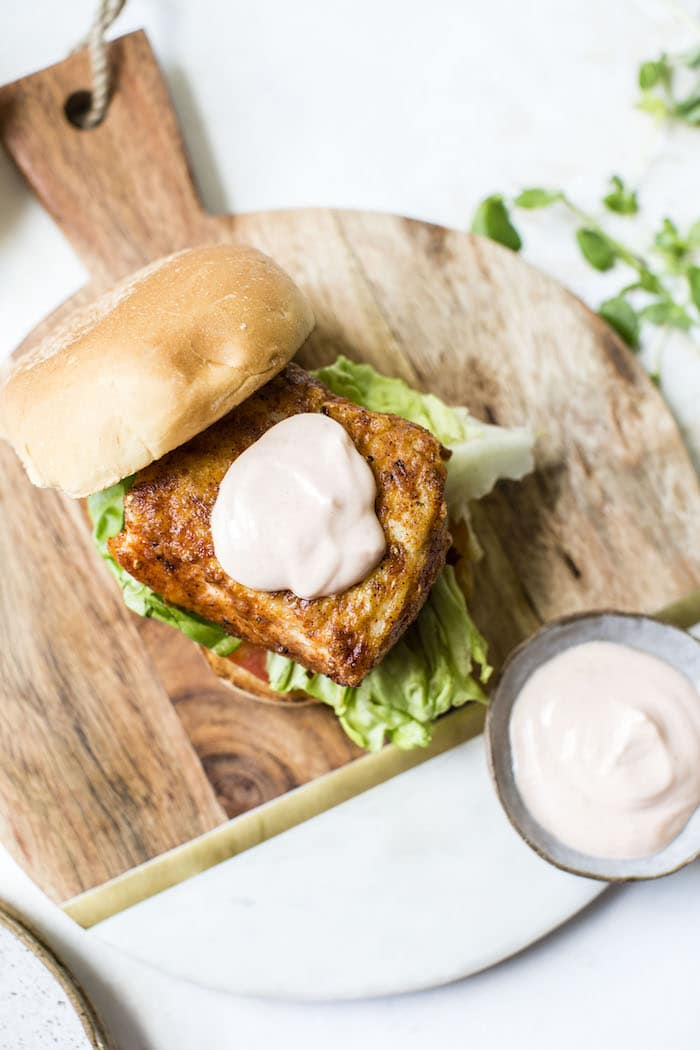 Spicy Cod Sandwich | thealmondeater.com