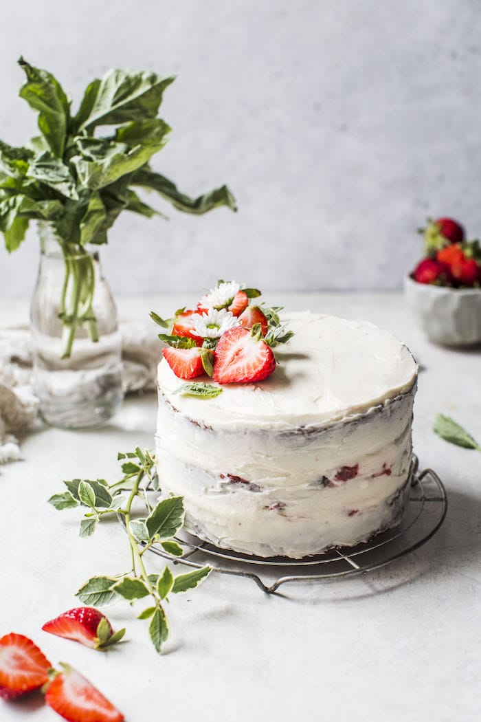 classic vanilla cake with strawberry basil compote | thealmondeater.com