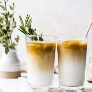 two iced lattes