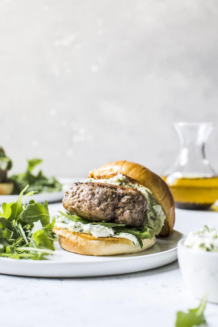 Lamb Burgers with Pesto Whipped Feta | thealmondeater.com