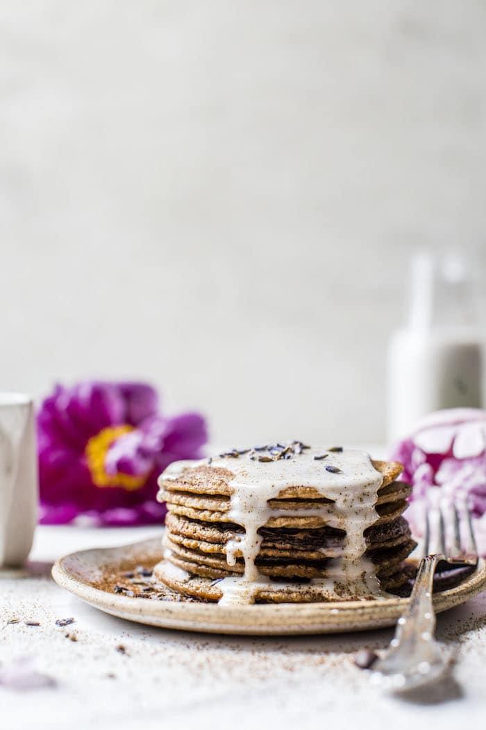 Lavender Espresso Pancakes | thealmondeater.com