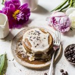 Lavender Espresso Pancakes | espresso pancakes with a sweet lavender glaze | thealmondeater.com