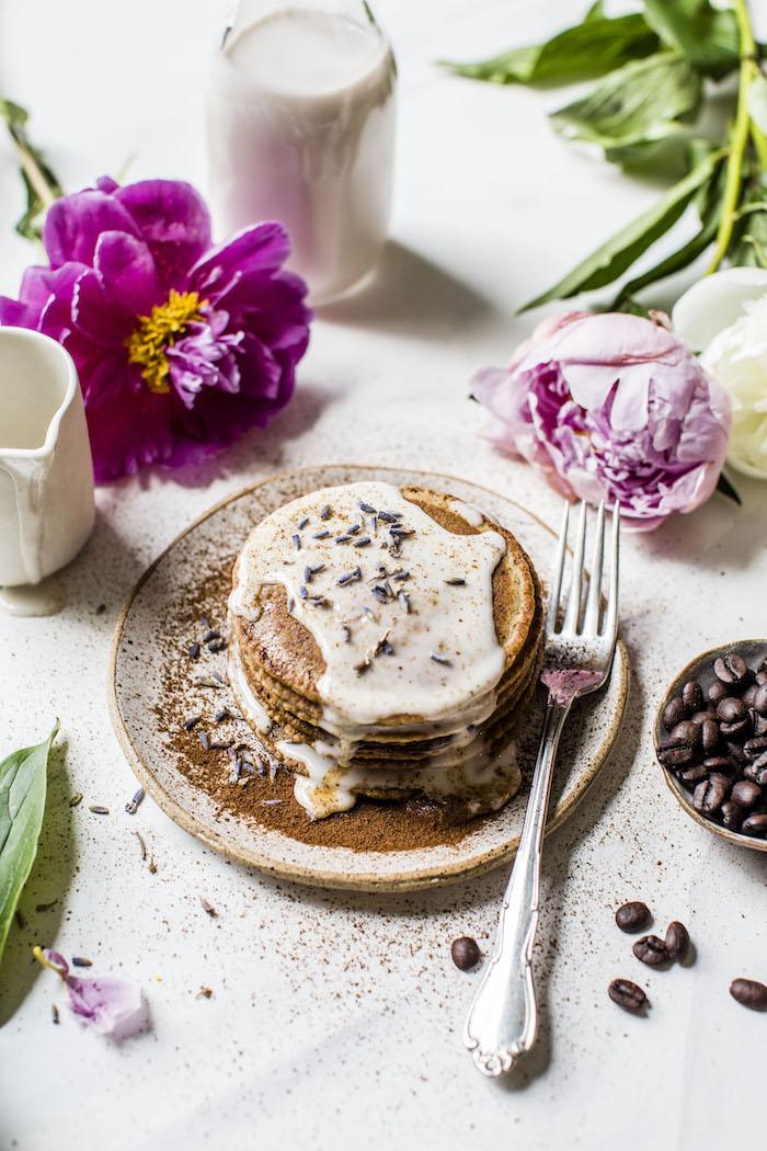 Lavender Espresso Pancakes | espresso pancakes with a sweet lavender glaze | thealmondeater.com