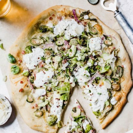 Burrata Brussels Sprouts Pizza | thealmondeater.com