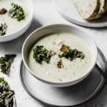 Creamy Vegan Cauliflower Soup with Tempeh | #vegan | thealmondeater.com