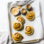 Pumpkin Spice Latte Cinnamon Rolls (#vegan!) | cinnamon rolls filled with espresso powder and topped with a pumpkin glaze | thealmondeater.com