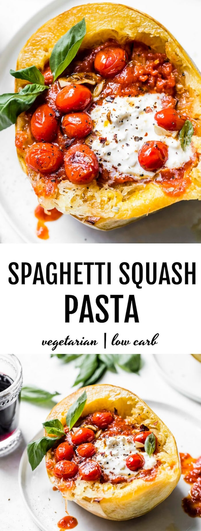 Fresh Tomato Spaghetti Squash PASTA made with roasted garlic, cherry tomatoes and burrata cheese -- low carb and vegetarian! | thealmondeater.com