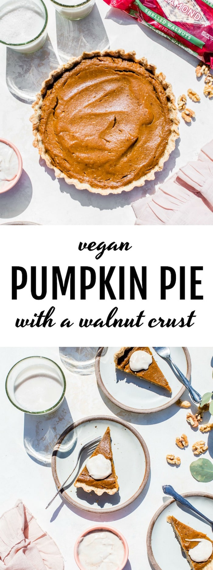 Vegan Walnut Pumpkin Pie | pumpkin pie made with a walnut-based crust and topped with cinnamon coconut whipped cream -- so good! | thealmondeater.com