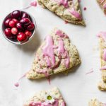 Apple Cranberry Scones - vegan-friendly scones filled with apples and topped with a sweet cranberry glaze | thealmondeater.com